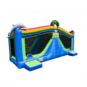 Large Tropical Bouncer Slide Combo